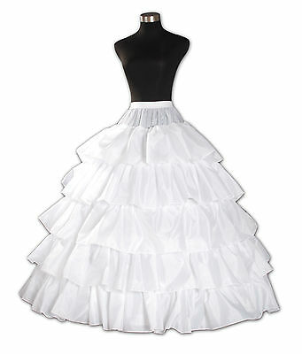New 4 hoop 5 layer White Underskirt Petticoat One Size UK Size 6 to 16