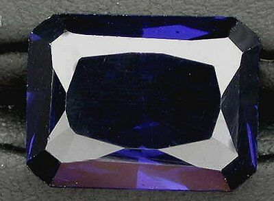 One 16x12 Emerald Cut Synthetic Blue Sapphire Corundum Gem Gemstone 16mm x 12mm