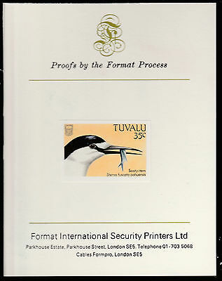 Tuvalu (1408) - 1988 BIRDS 35c imperf on Format International PROOF  CARD