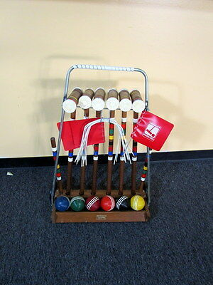 Vintage Forster Croquet Set 6 Player Stand Flags & Stakes