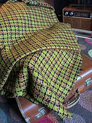Beautiful Vintage 60's/70s Orange Brown Wool Clothing Fabric Material Throw MINT