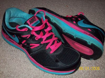 Nike Dual Fusion Lite Black Pink Blue Leather Athletic Shoes Size 9 1/2