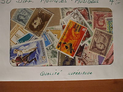 MUSICS & MUSICIANS 50 DIFFERENT STAMPS,  High quality, homemade assortment