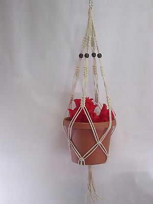 Macrame Plant Hanger Vintage Style 30 inch Beige COTTON CORD with Beads