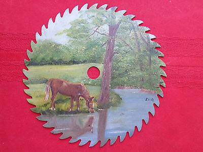 Hand Painted Saw Blade Art Summer Horse Water Trees Country Scene