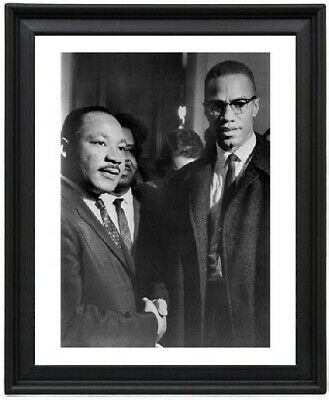 MLK and Malcolm X Handshake Poster Picture Frame - Martin Luther King - 8x10
