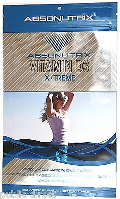 30 Vitamin D3 X-Treme PATCHES 50,000 IU, *Weekly Dosage in Each Patch Absonutrix