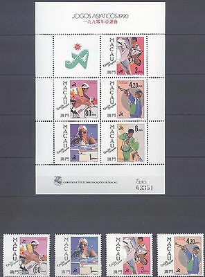Macau 1990 Asian Games Beijing S/s And Stamps Mnh Very Fine