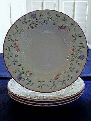 Set of 4 ~ Johnson Bros. England Rimmed SOUP BOWLS Summer Chintz Pattern