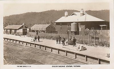 Real photo George Rose postcard Evelyn Victoria railway station, scarce