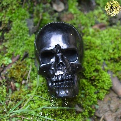 Hand Carved 50mm Human Skull Natural Buffalo Horn Carving Undrilled