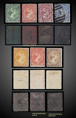 1891 -1902 Falkland Islands Lot Mint Used Sc 9,11,13,15,16,17,18 Sg Reversed Wmk