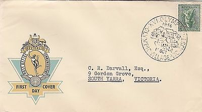 Stamp 4d Koala 1956 Hermes cover Olympic Village Housing commemorative postmark