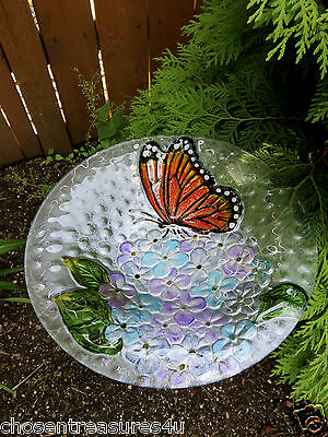 "11"" Butterfly Glass Dish Bird Bath Feeder Garden Decor 24"" Metal Stand/holder"