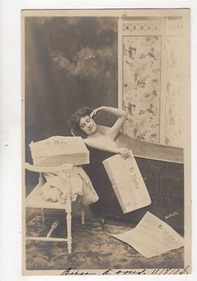 Lady In Bath With Le Matin Vintage RP Postcard 171b