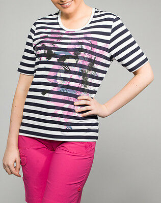 Hs Fashion Sporty Ladies- T-Shirt Striped Cotton 4097