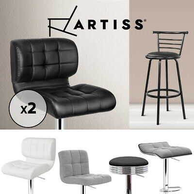 2x 4x Bar Stool Fabric Leather Dining Chair Swivel Barstool Gas Lift Black White