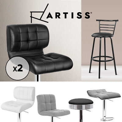 2x 4x Bar Stools Fabric PU Leather Dining Chair Barstool Gas Lift Black White