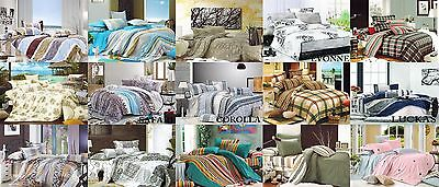 All Size 100% Cotton 420tc Reversible Quilt Duvet Doona Cover 3 Pcs Set