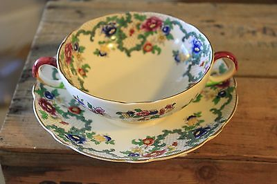 Vintage Royal Cauldon – Victoria – Twin-Handled Soup Bowl & Saucer – Great! –