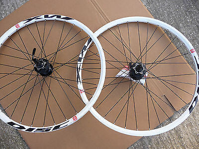 "26"" MTB MACH1 MX WHITE Rims SHIMANO Deore 8 9 10 Speed Hub Wheelset DISC ONLY"