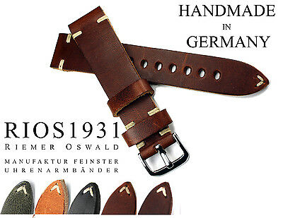 Uhrband 20mm RIOS1931 Vintage Retro Look Leder BAND made Germany Strap 20/18