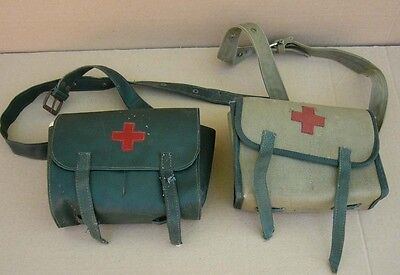 Old communist Bulgaria army Red cross medical bag case pouches set, 1960s
