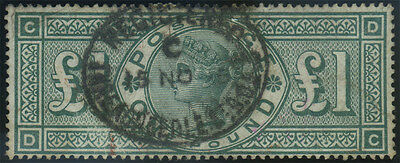 SG 212 Jubilee £1 green (D-C), good/fine used example with single 'Registered' o