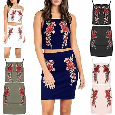 Womens Ladies Floral Rose Embroidered Cami Strap Crop Top Mini Skirt Co-Ord Set