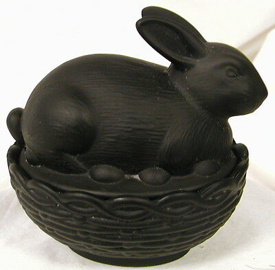 Mosser Black Satin Glass Covered Bunny Dish