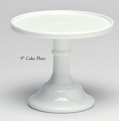 """Milk Glass Plain & Simple Pattern Pastry Tray - Cake Plate - 9"""""""