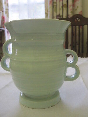 Beautiful Deco Crown Devon Mint Green Handled Vase