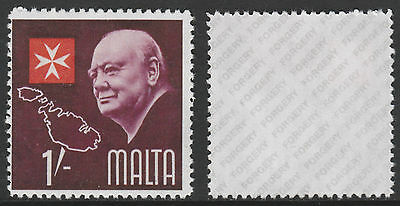 Malta (1423) 1966 Churchill 1s missing gold  -  a Maryland FORGERY unused