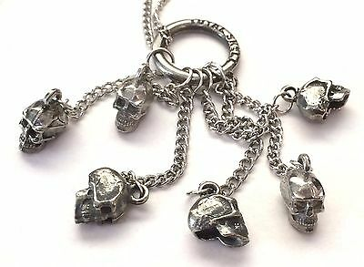 Total Skull Six Skulls on Chains Metal Necklace New Official Rob Zombie Sheri