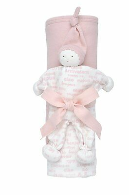 2 Piece Hooded Blanket Toy Gift Set Hello  Pink Blush Under the Nile