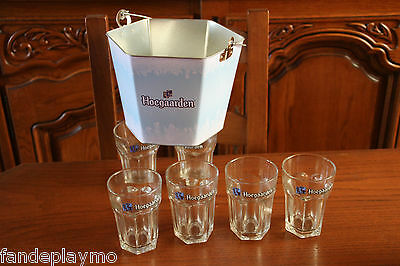6 VERRES HOEGAARDEN 25cl + 1 SCEAU BAC A GLACE / NEUF / DECO BAR BISTROT