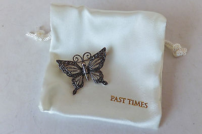 Pretty Past Times 925 Silver & Marcasite Butterfly Brooch - Boxed
