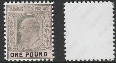 Bahamas (1431) 1901 KE7 £1 -  a Maryland FORGERY unused