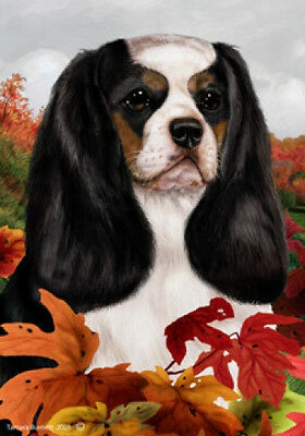 Garden Indoor/Outdoor Fall Flag - Tri Cavalier King Charles Spaniel 130481
