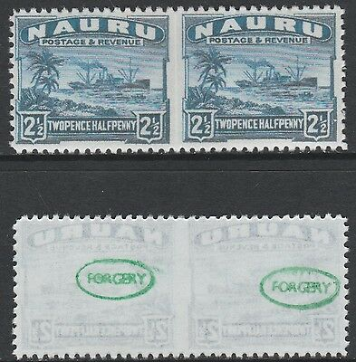 Nauru (1437) 1924 Century Ship imperf between 2.5d -  a Maryland FORGERY unused