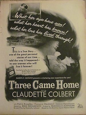 Three Came Home, Claudette Colbert, Full Page Vintage Promotional Ad