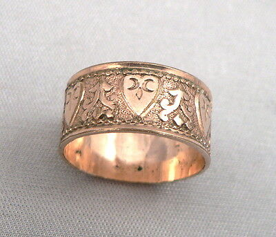 Antique Victorian Gold Filled Wide CIGAR BAND Ring Wedding Ornamental Heart
