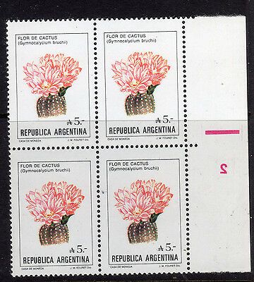 1987 Argentina 5A Cactus Flower Block Of 4 Backwards 2 Mint Never Hinged