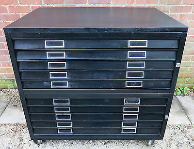 10 Drawer Metal Plan Chest On Casters - Size A1+