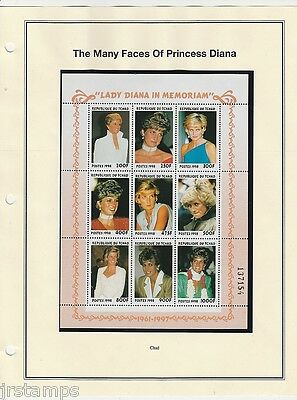 Diana Princess of Wales 1961-1997 1998 Souvenir Sheet of 9 from Chad MNH