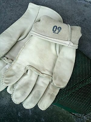 Pre 50s Ivory Leather Classic Car Military Motorcycle Driving Gloves.German?.Lge