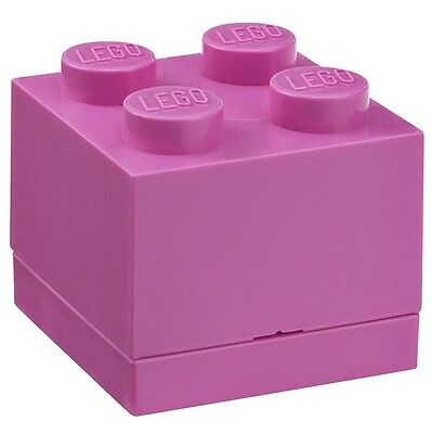 LEGO Brick Mini Box 4 PINK Snack Food Container Lunch Storage Plastic