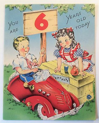 Vintage Birthday Card~Boy in Pedal Car~Girl Lemonade Stand~6 Years Old~Made USA