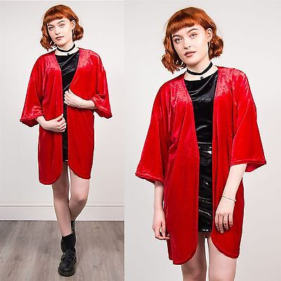 Womens Vintage Red Style Kimono Jacket Robe Velvet Open Fronted Casual One Size