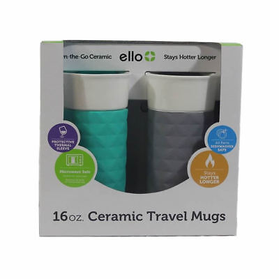 2 Pack of Ello Ogden 16oz BPA-Free Ceramic Travel Mugs with Lids